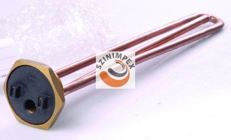 Fűtőbetétek ipari víz-és olaj melegítőkbe - 2000 W, 380 x 30 mm, réz, menet: 5/4, termosztát nélkül